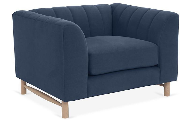 Alden Club Chair, Navy Linen