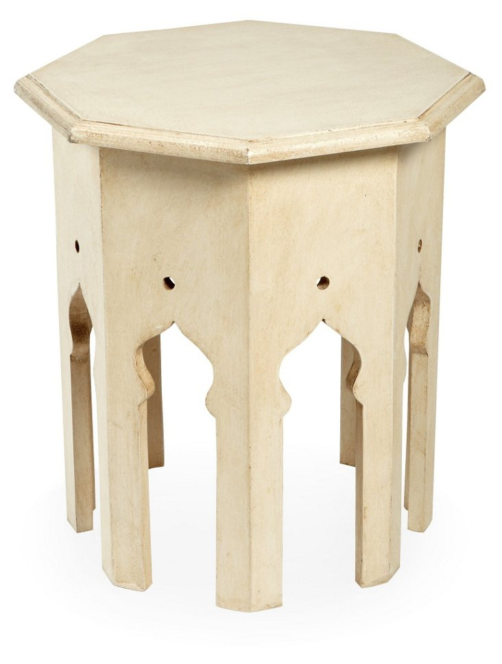 Moroccan Side Table, White