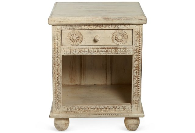 Carved Wood Side Table, White