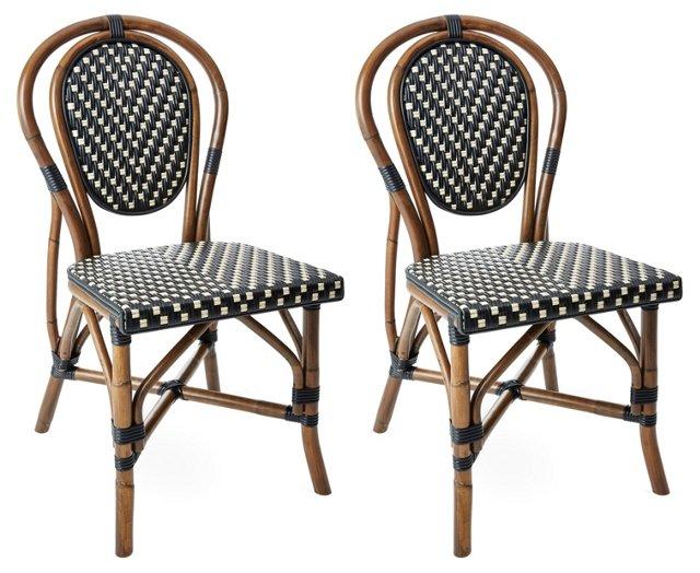 Black/White Everly Bistro Chairs, Pair
