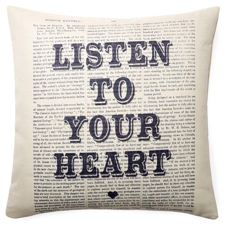 """Heart"" 20x20 Pillow, White"