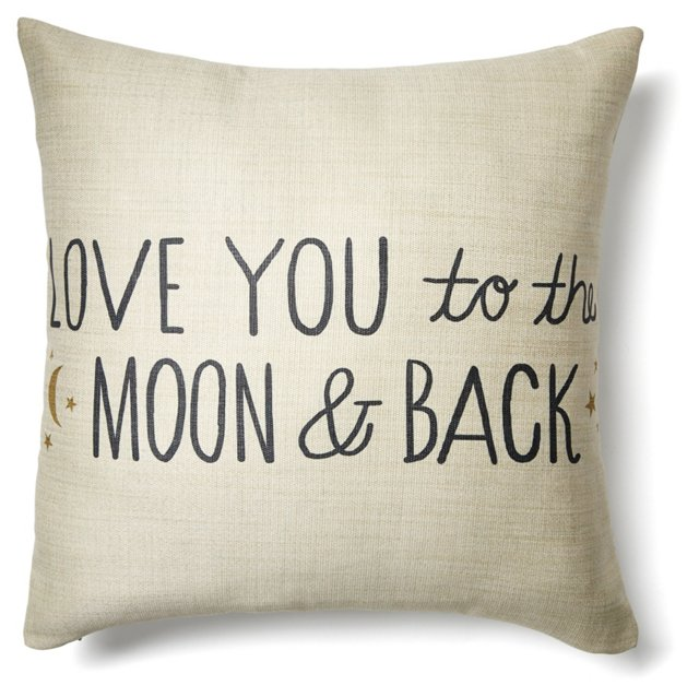 """To The Moon"" 20x20 Pillow, Ivory"