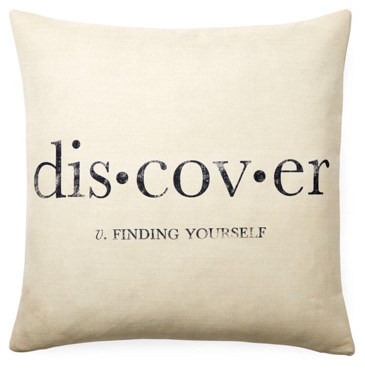 """Discover"" 20x20 Pillow, White"