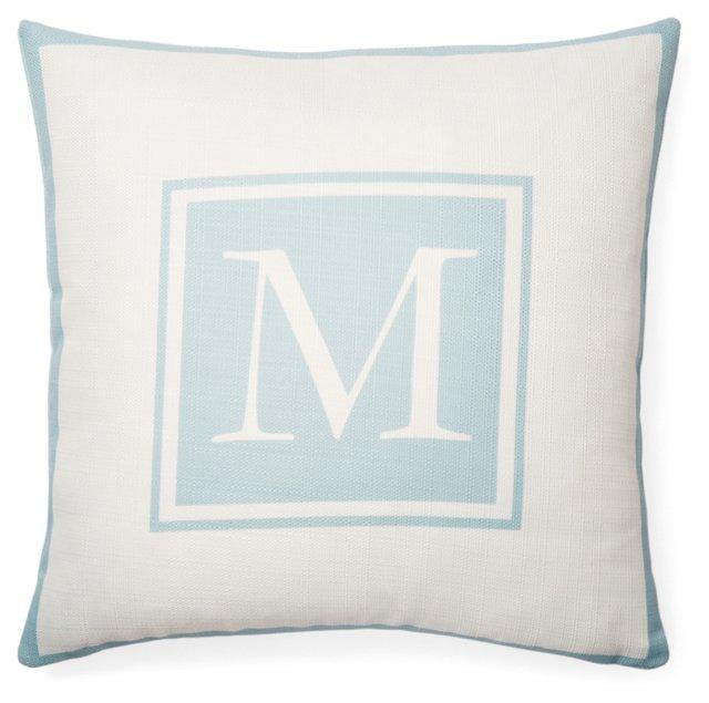 Monogram 20x20 Pillow, Light Blue