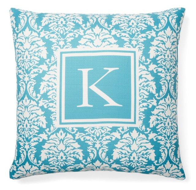Monogram 20x20 Pillow, Teal