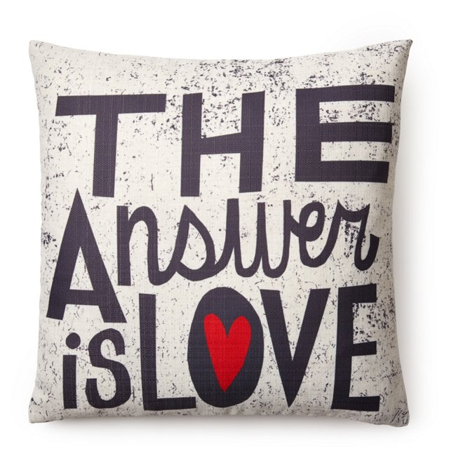 """""""The Answer is"""" Square Pillow, White"""