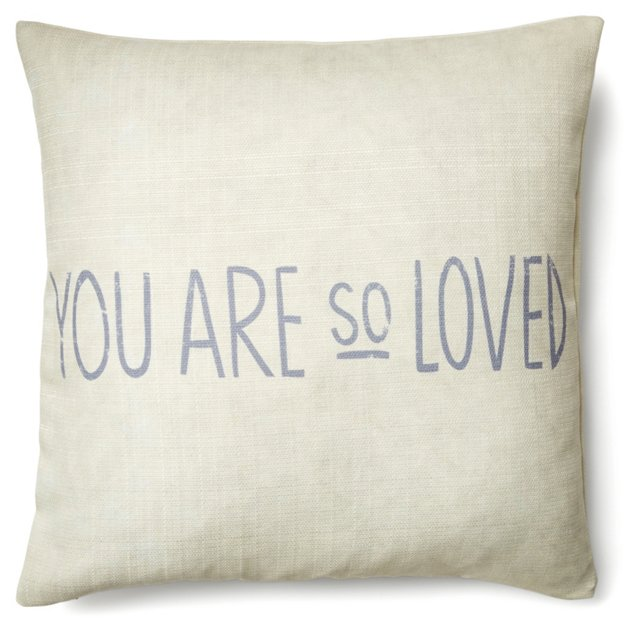 "Loved"" 20x20 Pillow, Cream"