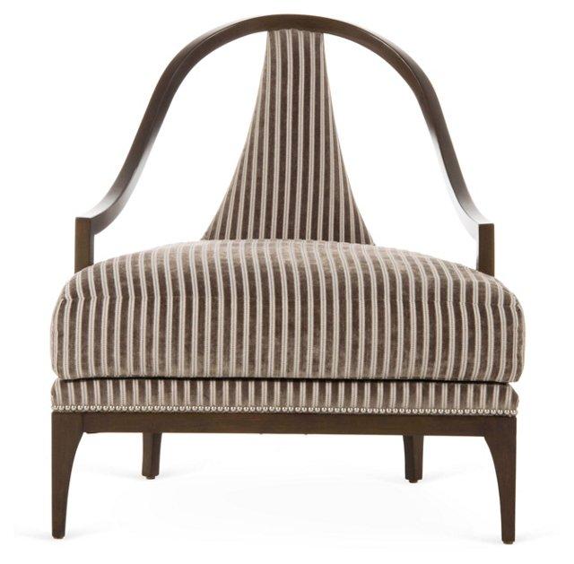 Ava Lounge Chair, Mocha Stripe