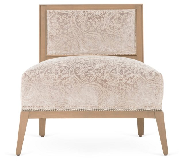 Roy Lounge Chair, Beige/Silver