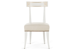 Zelia Side Chair, Cream/White