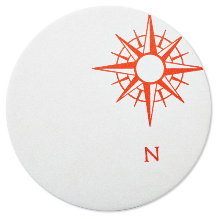 S/20 Nautical Coasters, red/wht