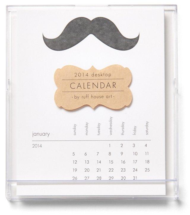 S/2 Mustache Desktop Calendars