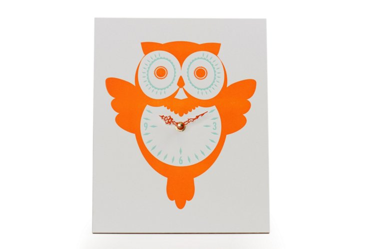 Retro Owl Wall Clock