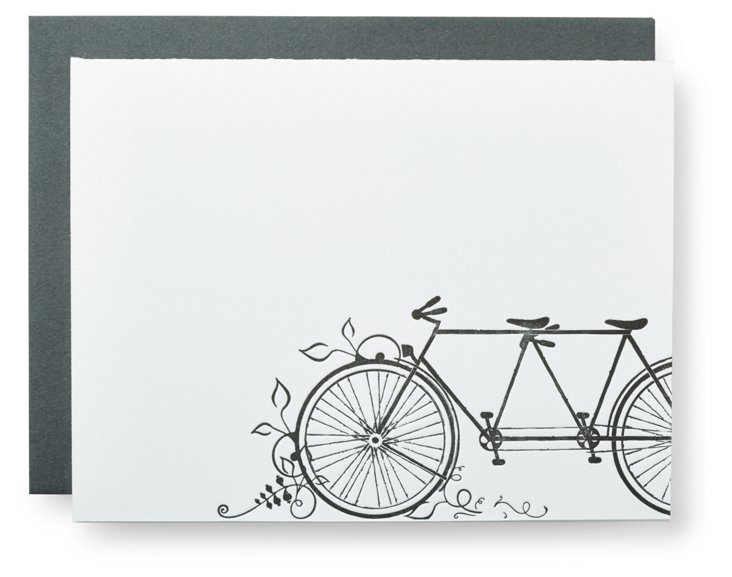 S/12 Tandem Bike Boxed Letterpress Cards
