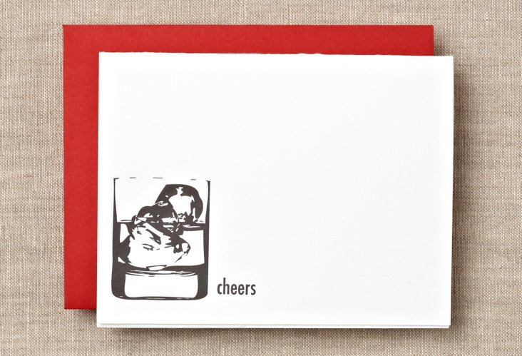 """S/12 Cocktail """"Cheers"""" Boxed Cards"""