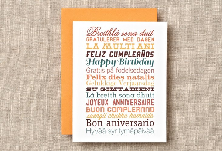 S/12 Languages Birthday Boxed Cards