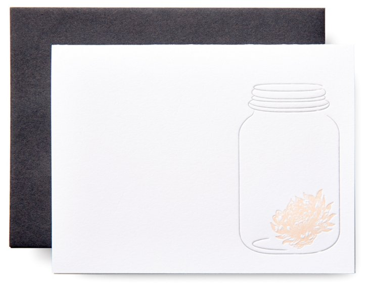 S/12 Mason Jar Letterpress Cards