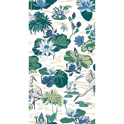 Lake Agawam Madcap Cottage Wallpaper, Ocean