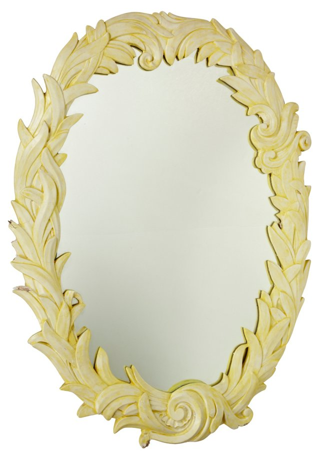 French Plaster Relief Mirror