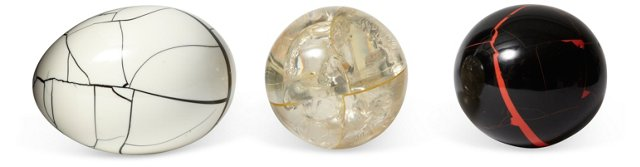 French 1950s Resin Orbs, Set of 3