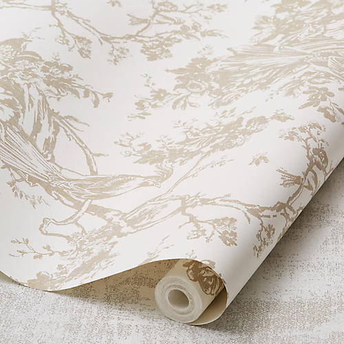 Exotic Plumes Wallpaper, Mink