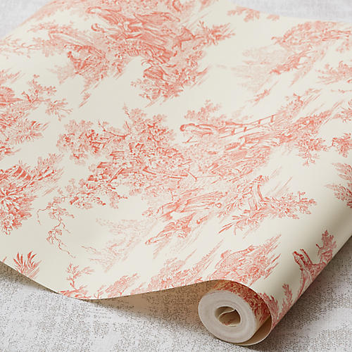 Campagne Toile Wallpaper, Orange