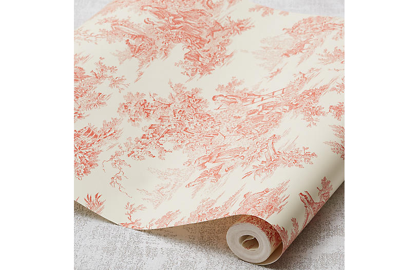 Campagne Toile Wallpaper Orange Wallpaper Wall Decor Hardware