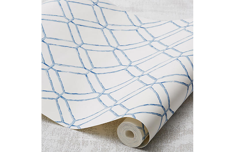 Diamond Bamboo Wallpaper, Blue