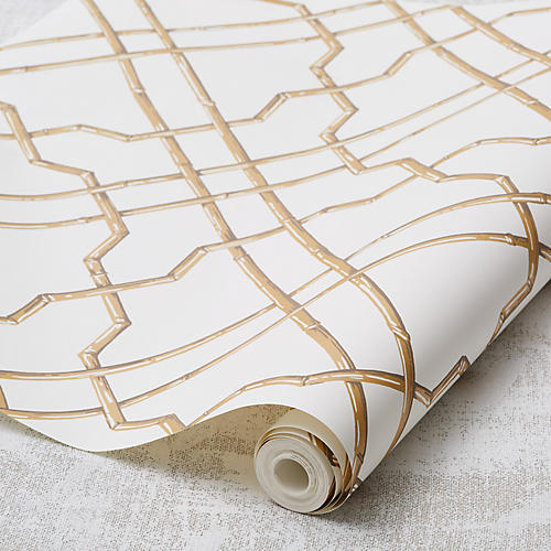 Bamboo Trellis Wallpaper, Gold