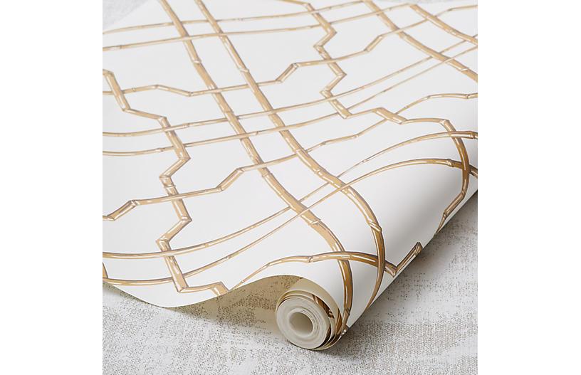 Bamboo Trellis Wallpaper, Gold