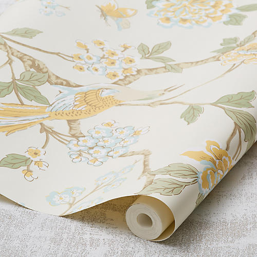 Fanciful Wallpaper, Pastel Yellow