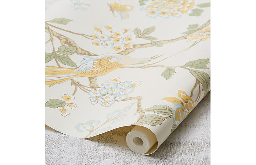 Fanciful Wallpaper, Pastel Yellow