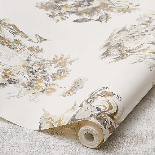 Scenic Toile Wallpaper, Neutral