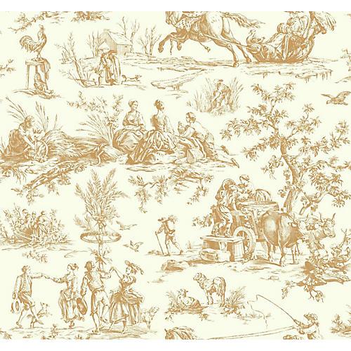 Seasons Toile Wallpaper, Beige