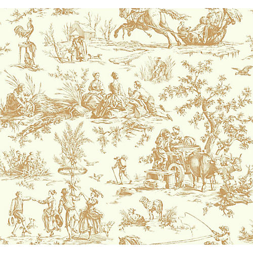 Seasons Toile Wallpaper, Beige