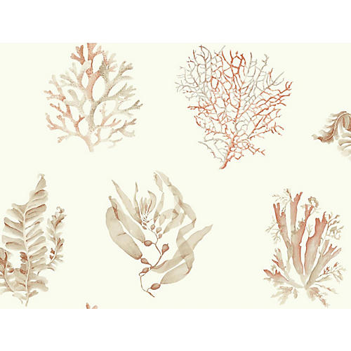 Seaweed Wallpaper, Ivory/Multi