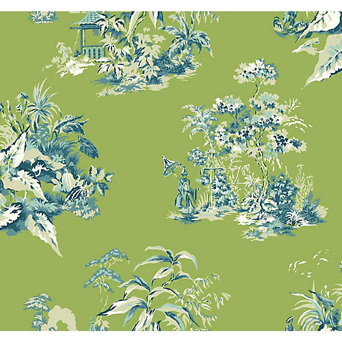 Chinoiserie Scenic Wallpaper, Green/Blue