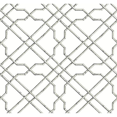 Bamboo Trellis Wallpaper, Gray