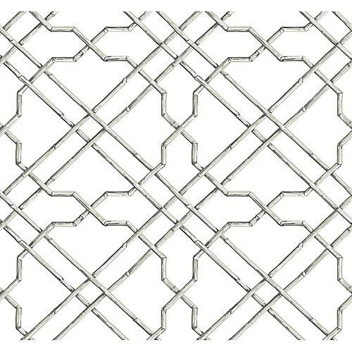 Bamboo Trellis Wallpaper, Gray