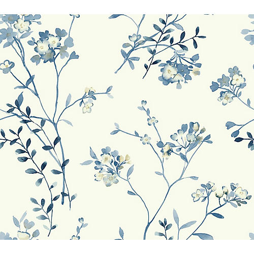 Soft Blossoms Wallpaper, Blue