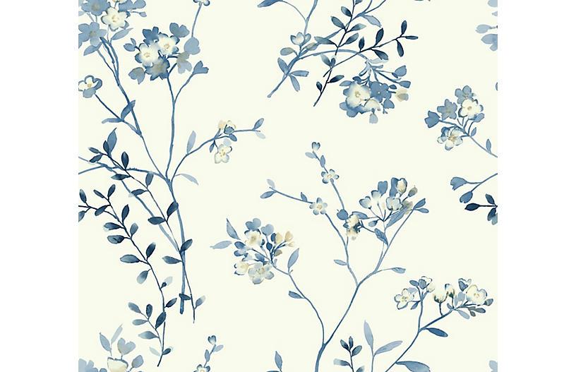 Soft Blossoms Wallpaper, Blue