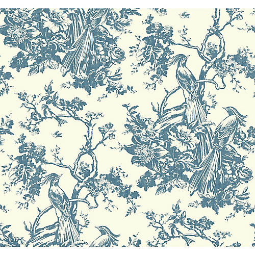 Exotic Plumes Wallpaper, Blue