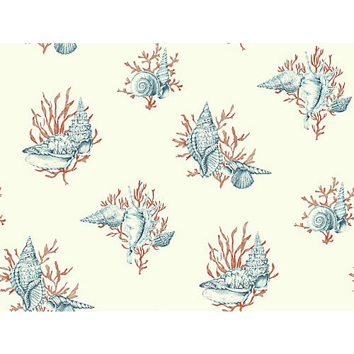 Shell Toile Wallpaper, Blue/Red