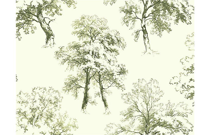 Deciduous Wallpaper, Green