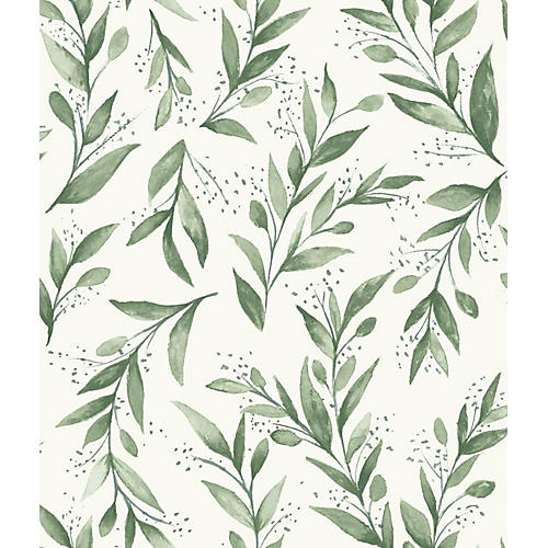 Olive Branch Wallpaper, Light Green