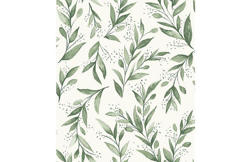 Olive Branch Wallpaper - Light Green - YORK WALLCOVERINGS