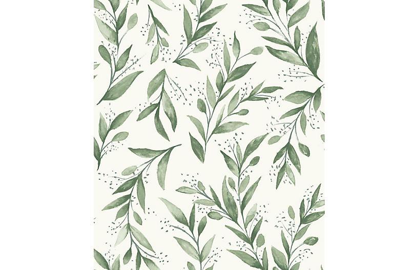 Olive Branch Wallpaper, Light Green