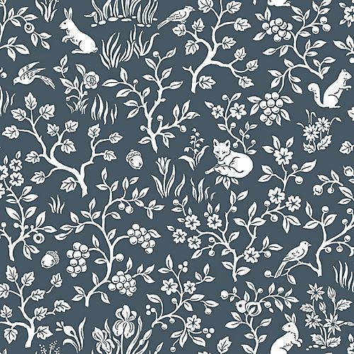 Fox & Hare Wallpaper, Navy