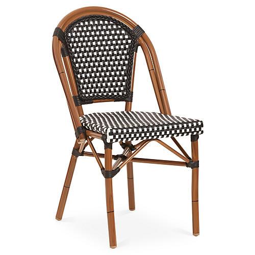 Outdoor Café Bistro Chair, Black/White
