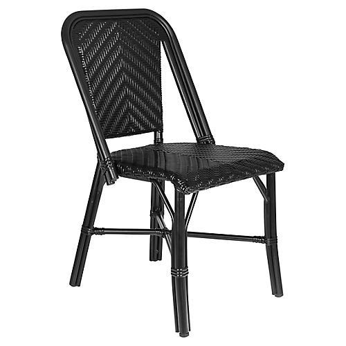 Modern Outdoor Bistro Side Chair, Black